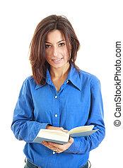 肖像画, の, 美しい女性, 本を読む