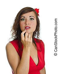 肖像画, の, 若い女性, ∥で∥, lipstick., 隔離された, 白