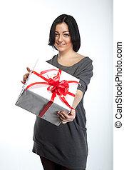 肖像画, の, 若い, 微笑の 女性, ∥で∥, 贈り物, 白