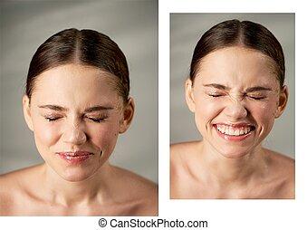 肖像画, の, 若い, 美しい, 女の子, 中に, スタジオ, ∥で∥, 専門家, makeup.beauty, shooting.emotional, portrait., しわが寄った鼻, 微笑, から, はねる, の, 水, 中に, ∥, face., 喜び