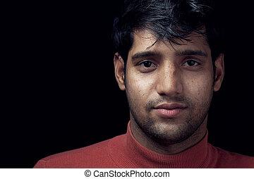 肖像画, の, 若い, indian, 人