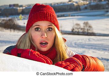 肖像画, の, 驚かされる, 女, ∥で∥, 開いている口, 冬