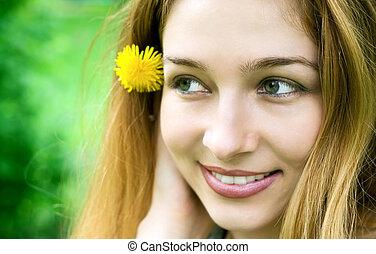 肖像画, の, 魅力的, 女の子, 中に, 緑のフィールド