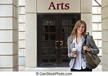 肖像画, の, 魅力的, 女性, 大学学生, 外, キャンパス