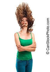 肖像画, の, 魅力的, 微笑の 女性, ∥で∥, 巻き毛の髪, 隔離された