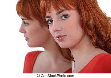 肖像画, の, ∥, 魅力的, redhead