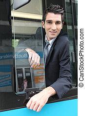 肖像画, の, a, バスの運転手