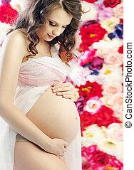 肖像画, の, a, ブルネット, 妊婦