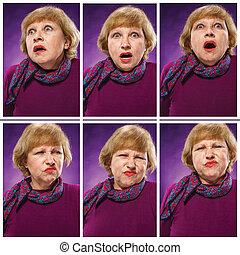 ∥, 肖像画, の, a, 不満を抱いている, 年長の 女性