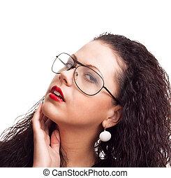 肖像画, の, a, 美しい女性, ∥で∥, 巻き毛の髪, 隔離された, 上に, 白