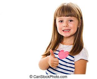 肖像画, の, a, 美しい, そして, 確信した, 女の子, 提示, 「オーケー」, 隔離された, 1(人・つ), 白