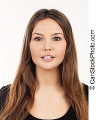 肖像画, の, a, 美しい, 若い女性, ∥で∥, 長い髪