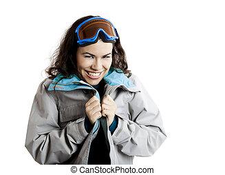 肖像画, の, a, 美しい, 若い 女の子, 身に着けていること, a, 冬の コート, そして, 雪, ガラス