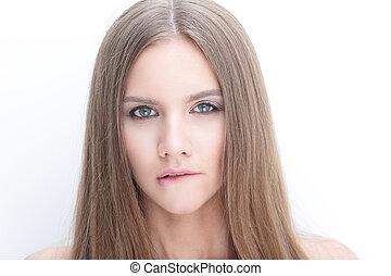 肖像画, の, a, 若い女性, ∥で∥, 長い髪