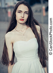 肖像画, の, a, 若い女性