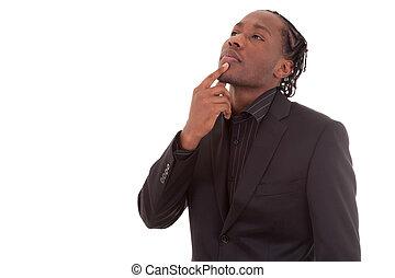 肖像画, の, a, 若い, アフリカ, amercan, ビジネス男, 考え, 隔離された, 白, 背景, -, 黒, 人々
