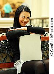 肖像画, の, a, 若い, ビジネス 女, 隔離された, 上に, white.
