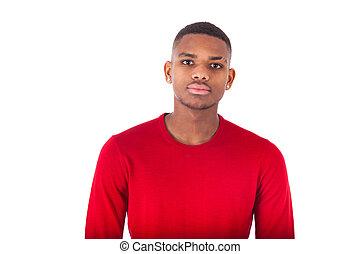 肖像画, の, a, 若い, african american 男, 隔離された, 白, 背景