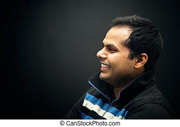 肖像画, の, indian, 微笑の人