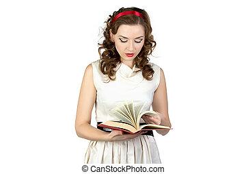 肖像画, の, pinup, 女性の 読書, 本