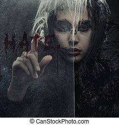 肖像画, の, raven-woman