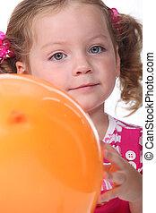 肖像画, わずかしか, balloon, 女の子