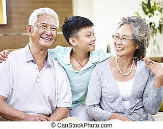 肖像画, アジア人, 孫, 祖父母