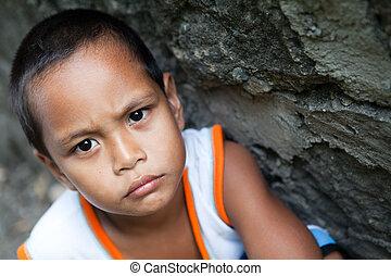 肖像画, アジア人, 若い少年
