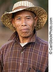 肖像画, アジア人, 農夫