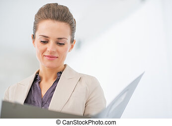 肖像画, オフィス, 女, 仕事, ビジネス
