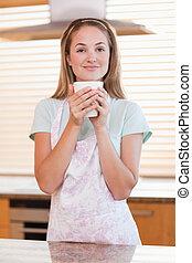 肖像画, カップ, 女, 飲む茶