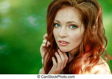肖像画, クローズアップ, 毛, 女, 赤