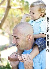 肖像画, クローズアップ, 父, outdoors., 息子