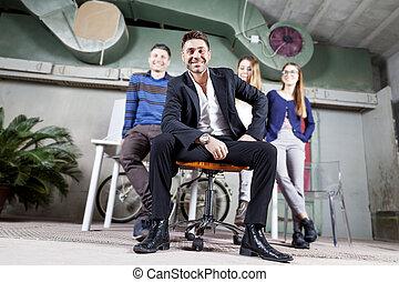 肖像画, グループ, businesspeople, 若い