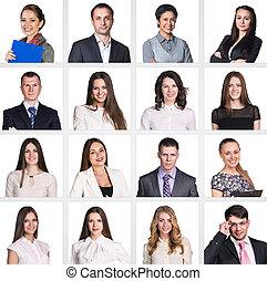肖像画, コラージュ, ビジネス, 人々