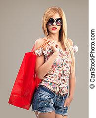 肖像画, サングラス, 袋, 買い物, 女, 美しい, ファッション