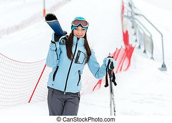 肖像画, スキーをする, 半分長さ, 保有物, 女性