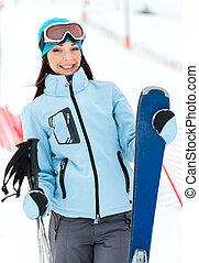肖像画, スキーをする, 半分長さ, 女性