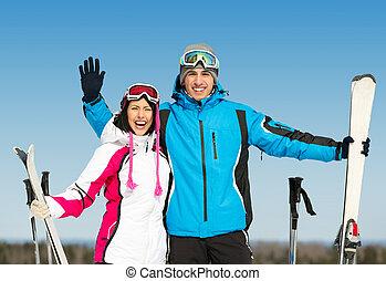 肖像画, スキーヤー, 半分長さ, 抱き合う