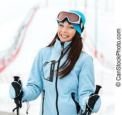 肖像画, スキーヤー, 女性, 高山