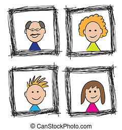 肖像画, スケッチ, 家族, 幸せ