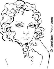 肖像画, スタイル, 女, レトロ