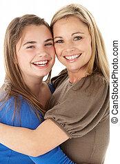 肖像画, スタジオ, 娘, 抱き合う, 母