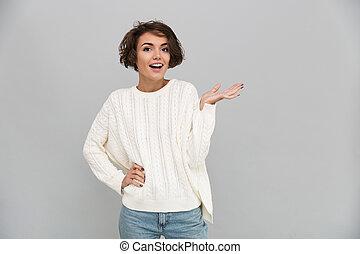 肖像画, セーター, 若い 女の子, 偶然