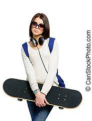 肖像画, ティーネージャー, ヘッドホン, スケートボード, リュックサック