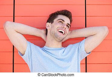 肖像画, ハンサム, 人, 若い, 笑い