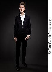 肖像画, ハンサム, 人, 黒いスーツ