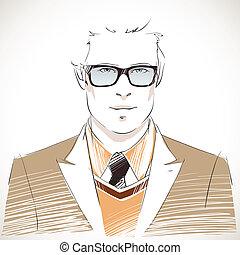 肖像画, ハンサム, 若い, ビジネスマン