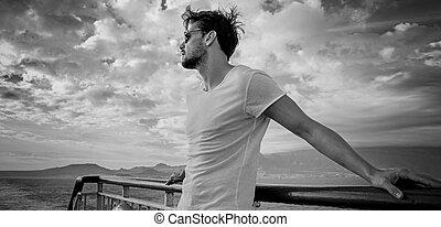 肖像画, ハンサム, black&white, 若者