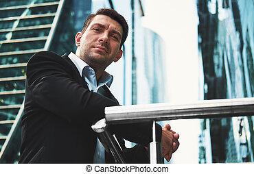 肖像画, ハンサム, man., ビジネス, 屋外で